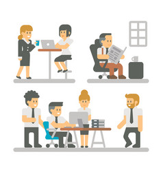 Flat design cartoon meeting business people vector