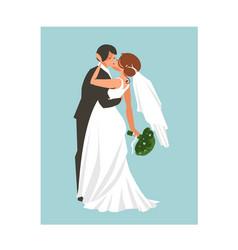 hand drawn abstract wedding hugging and vector image
