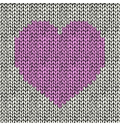 Seamless background with pink knitted heart vector