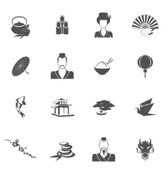 Japan icons black vector