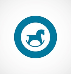Horse toy bold blue border circle icon vector