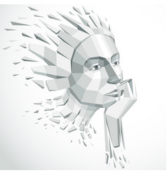 3d of human head created in low poly vector