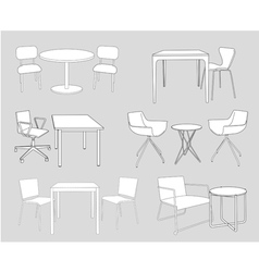 Furniture tables and chairs sketch vector