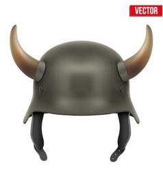 German army helmet with horns vector