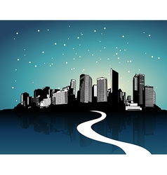 City with reflection art vector image