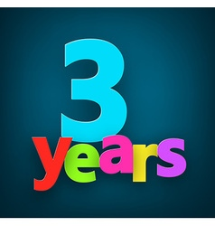 Three years paper sign vector