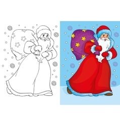 Coloring book of father frost walking with bag vector