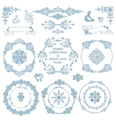 Christmasnew year decor setwinterwreath frames vector