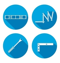 Building tool icon set rule clinometer angle vector