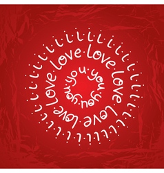 Valentines day round lettering on red gradient vector
