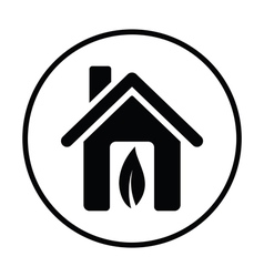 Ecological home with leaf icon vector