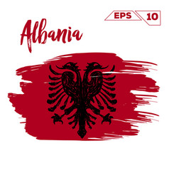 albania flag brush strokes painted vector image