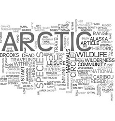 Artic tours text word cloud concept vector