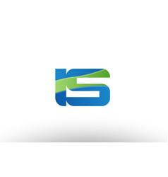 blue green is i s alphabet letter logo vector image vector image