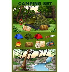 Camping equipment and field vector image