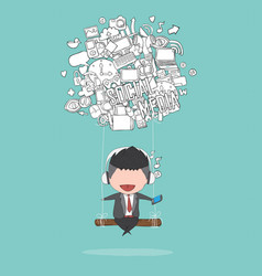 Cartoon businessman swinging on social network vector