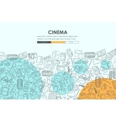 cinema Doodle Website Template Design vector image vector image