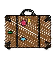 Color crayon stripe image travel briefcase with vector