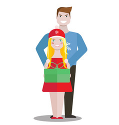 couple with green box of gift on white background vector image