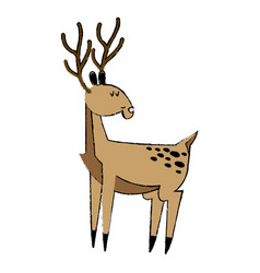 Cute deer cartoon christmas horn image vector