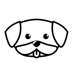 Face dog cute tongue out outline vector