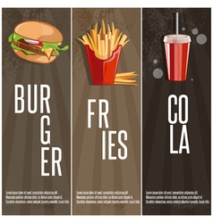 fast food banners with burgerfried potatoes and vector image vector image