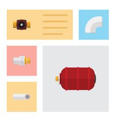 flat icon plumbing set of tap drain container vector image vector image