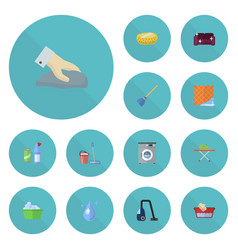 flat icons mopping sofa housekeeping and other vector image