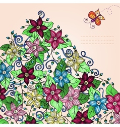 Floral background retro flowers leaves and vector