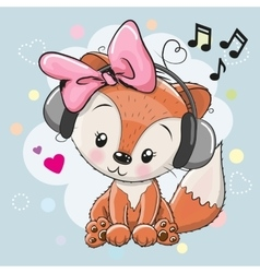 Fox with headphones and hearts vector