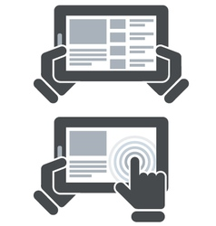 Hands holding tablet computer and open website vector
