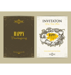 Happy Thanksgiving Day Invitation cards vector image