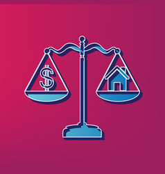 House and dollar symbol on scales blue 3d vector