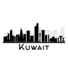 Kuwait city skyline black and white silhouette vector