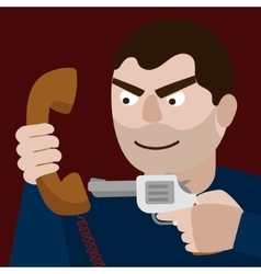 Man aim gun to handset cartoon vector