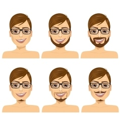 man with different beard styles vector image