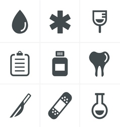 Medical icons set of health and medicine vector image