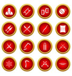 Ninja tools icon red circle set vector