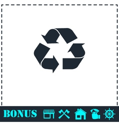 Recycle arrow icon flat vector