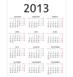 Simple 2013 calendar vector image vector image