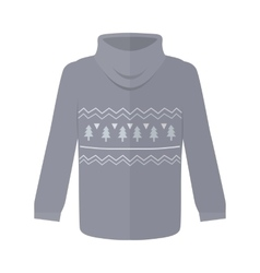 Sweater or jumper with fir tree icons isolated vector
