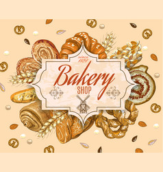 Vintage bakery banner vector