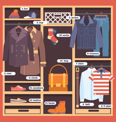 wardrobe room full of mans cloths flat style vector image