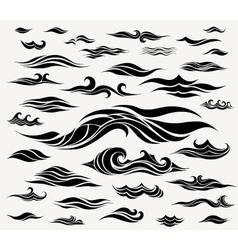 waves set of elements for design vector image