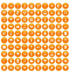 100 harmony icons set orange vector