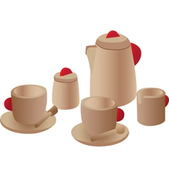 Wooden play tea set vector
