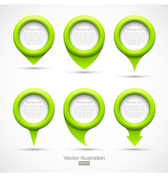 Set of green circle pointers vector