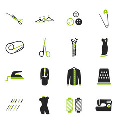 Tailoring icons set vector