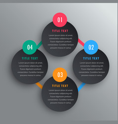 Four steps infographic chart design in dark theme vector