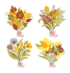 Set of autumnal bouquets vector